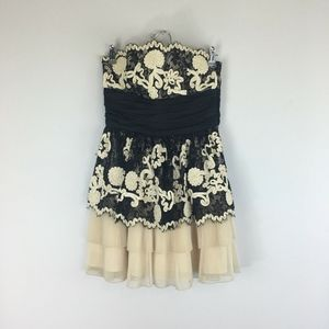 Betsey Johnson Strapless Accordion Floral Dress